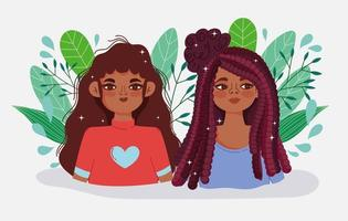 Banner with two cartoon girls and leaves vector