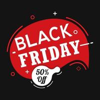 Black friday red and black sale banner vector