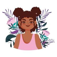 African American young woman with flowers