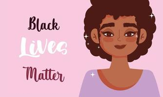 Black lives matters design with young woman vector