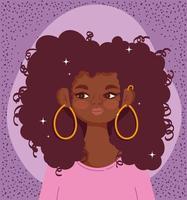 retrato de mujer joven afroamericana vector