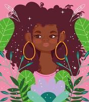 mujer joven afroamericana con flores vector