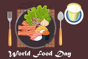 World food day design with plate vector