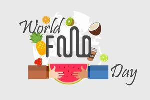 World food day design with hands holding fruit vector