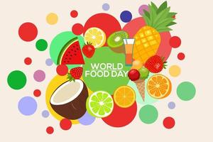 World food day design with fruits and circles vector