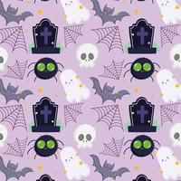 Halloween, ghosts, bats, spiders, skulls and gravestones pattern vector