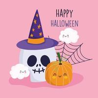 Happy halloween, pumpkin, web, clouds and skull  vector