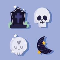 Happy halloween, skull, gravestone and half moon  vector