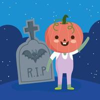 Happy halloween, boy with pumpkin costume vector