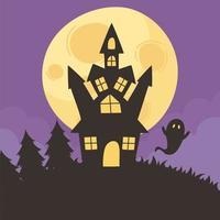 Happy halloween, castle, ghost, and moon night  vector