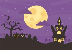 feliz halloween, castillo, cementerio y calabazas