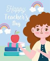 feliz dia del maestro, maestro con pila de libros vector
