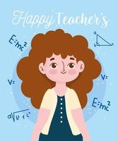 Happy teachers day, teacher and mathematical equation formula