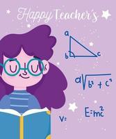 feliz día del maestro, estudiante con lección de libro aprendiendo vector