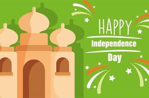 feliz día de la independencia india taj mahal templo tradicional fuegos artificiales vector