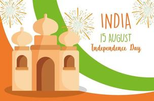 Happy Independence Day India, Taj Mahal Flag and Fireworks vector