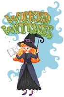 Wicked witch and text on white vector