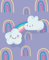 Cute rainbow wallpaper design vector