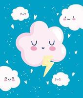 Cute clouds with hearts wallpaper design