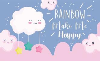 Little cartoon clouds banner design vector