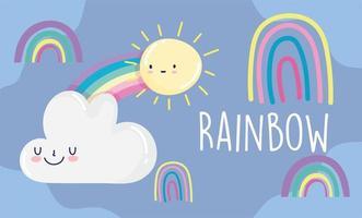 Rainbows, sun and cloud cartoon design vector