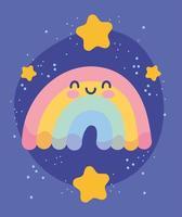 lindo arcoiris con estrellas doradas vector