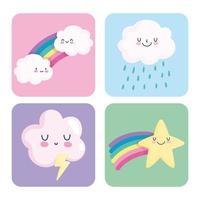 Cute and colorful sky icons