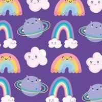 Cute rainbows and planets pattern background vector