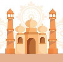 feliz día de la independencia india taj mahal monumento vector