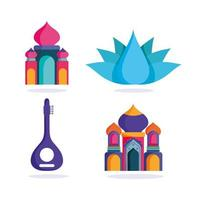 Happy Independence Day India, Taj Mahal Flower Temple Icons vector