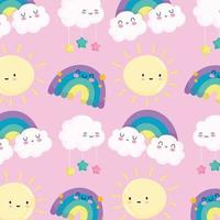 Cute rainbows and sun pattern background vector