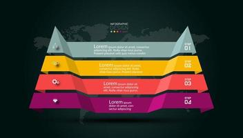 Modern pyramid steps infographic vector