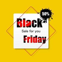 Black Friday sale black and yellow banner vector
