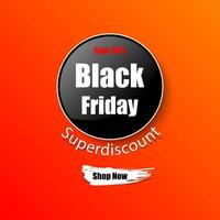 Black Friday orange banner vector