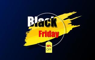 Black Friday dark and yellow color banner vector