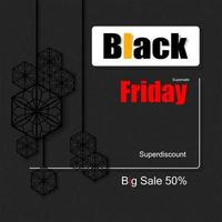 Black Friday super sale black banner vector