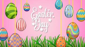 Poster design for easter with decorated eggs vector