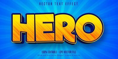 efecto de texto editable de estilo de dibujos animados de héroe