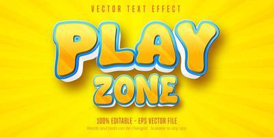 efecto de texto editable de estilo de dibujos animados de zona de juego