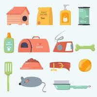 Pets supplies cartoon collection vector