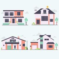 Front view urban houses collection