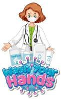 Diseño de cartel de coronavirus con mensaje de lávate las manos.