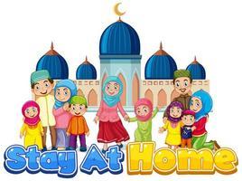 cartel de estancia en casa con familia musulmana vector