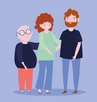 padre, madre y abuelo