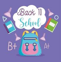 Back to school, backpack, laboratory test tubes and books