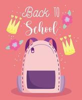 regreso a la escuela, mochila, flores y coronas