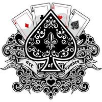 Ace of spades playing cards with lily flower vector