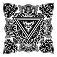 Spades design with filigree and all seeing eye  vector