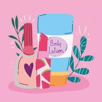 Make-up, beauty and body care products design vector