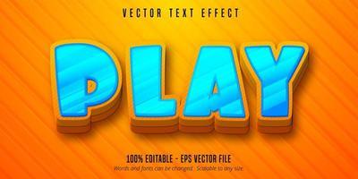 Play cartoon style editable text effect vector